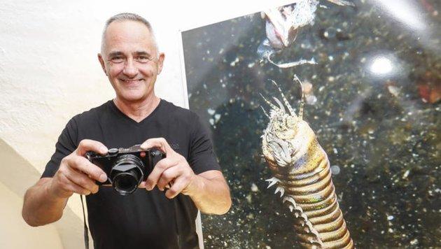 Manfred Wakolbinger zeigt auf der Festung faszinierende Unterwasser-Aufnahmen. (Bild: Markus Tschepp)