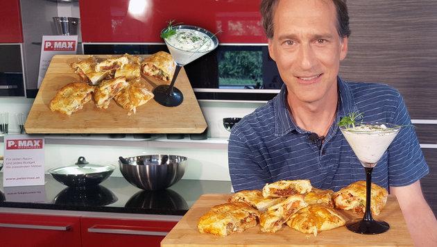 Rezept der Woche: Mozzarella-Paradeiser-Strudel (Bild: krone.tv, krone.at-Grafik)