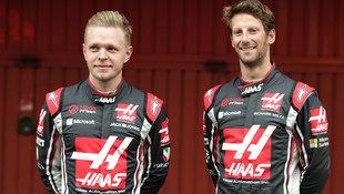 Haas setzt auch 2018 auf Magnussen und Grosjean (Bild: AFP)