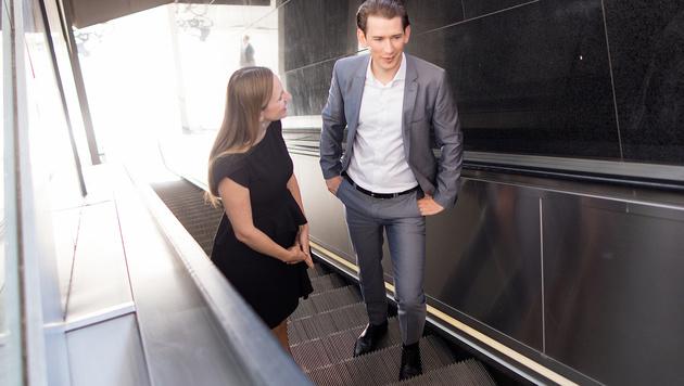 Gemeinsamer Polit-Weg: Maria Großbauer und Sebastian Kurz (Bild: APA/GEORG HOCHMUTH)