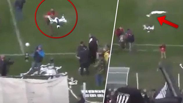 Fußballfan holt mit Papierrolle Drohne vom Himmel! (Bild: YouTube.com)