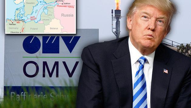Trumps Sanktionen treffen auch die OMV (Bild: Peter Tomschi, AP, wikipedia.org, krone.at-Grafik)