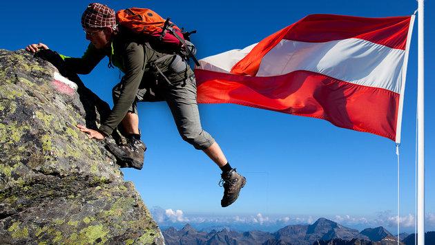 Urlaub in Österreich ist besonders bei Russen und Deutschen beliebt. (Bild: thinkstockphotos.de, krone.at-Grafik)