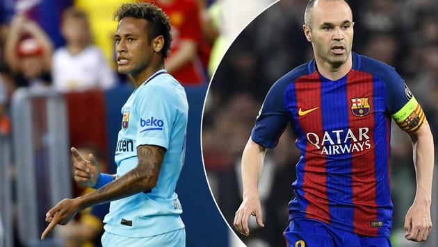 Trotz Ausraster: Iniesta für Verbleib von Neymar (Bild: AP)