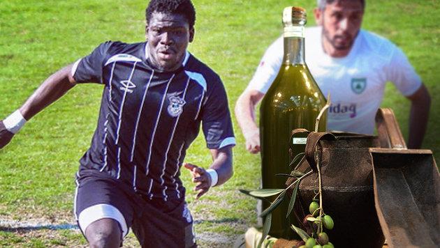 Schräg! 10-Liter-Olivenöl-Ablöse für Amateurkicker (Bild: AFP, instagram.com)