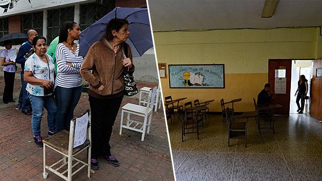 Zwei Realitäten in Venezuela: Lange Schlangen vor den Wahllokalen, ein leeres Wahllokal (Bild: AP, AFP)
