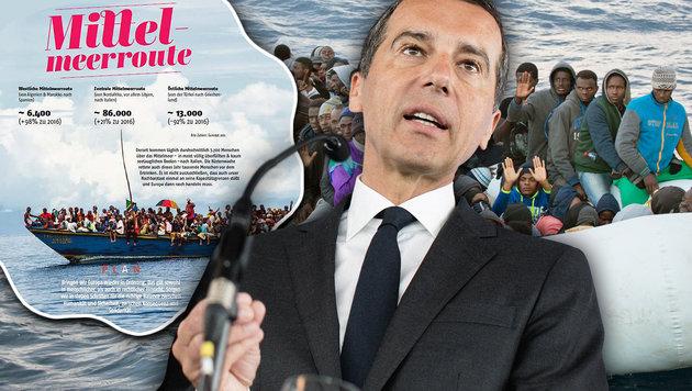 Der Entwurf des Wahlkampfprogramms von SPÖ-Chef Kern umfasst mehr als 200 Seiten. (Bild: SPÖ, AP, APA/GEORG HOCHMUTH, krone.at-Grafik)