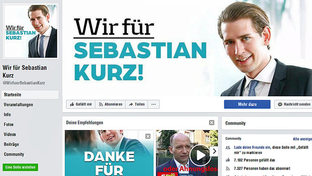 """Die ÖVP distanziert sich von der Seite """"Wir für Sebastian Kurz"""" und kämpft um deren Löschung. (Bild: facebook.com)"""