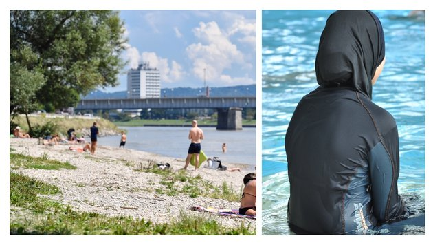 In Oberösterreich - wie hier am Donaustrand in Linz - werden noch selten Frauen in Burkinis gesehen. (Bild: Dostal, APA/Rolf Haidt)