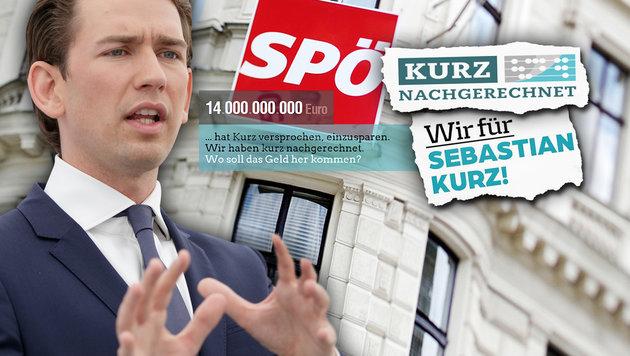 """Kurz-""""Hetz-Seiten"""" im Netz: Spur führt zur SPÖ (Bild: APA/GEORG HOCHMUTH, APA/ROLAND SCHLAGER, facebook.com)"""