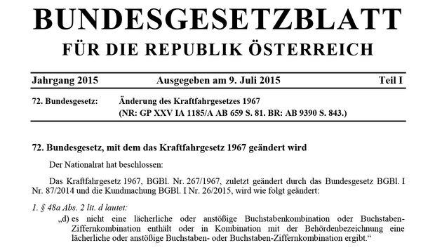 """""""Dschihad-Kennzeichen"""" sorgt in Wien für Aufregung (Bild: Bundesgesetzblatt)"""