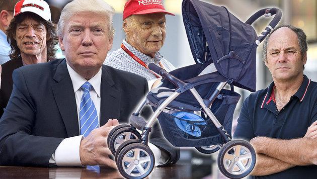 Späte Väter: Baby-Boom bei den prominenten Papas (Bild: APA, AFP, stock.adobe.com)