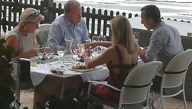 Kern und Mitterlehner bei vertraulichem See-Dinner (Bild: Kronen Zeitung)