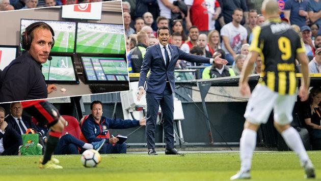 Giovanni van Bronckhorst (Mitte), Bundesliga-Schiedsrichter Sascha Stegemann (links) (Bild: AFP, AP)