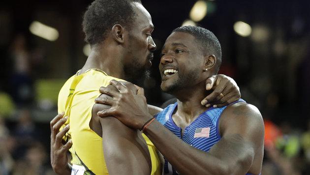 Justin Gatlin (rechts) und Usain Bolt (Bild: AP)