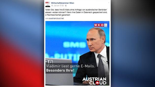 """Werbe-""""Feindbild"""" Putin ärgert russische Botschaft (Bild: WKO, facebook.com, krone.at-Grafik)"""