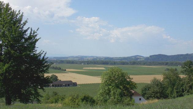 Blick vom Sechterberg auf das vom Schotterabbau betroffene Gebiet in Bergheim. (Bild: Robert Gumpenberger, SPÖ Feldkirchen)
