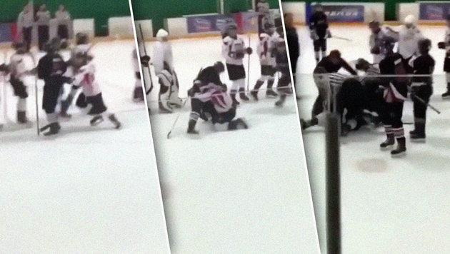 Brutal! Wilde Prügelei bei Eishockey-Jugendmatch (Bild: Instagram.com)