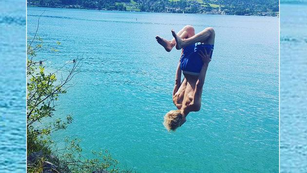 Genial! Skisprung-Star Michael Hayböck zeigt uns auch im Sommer spektakuläre Sprünge. (Bild: facebook.com)