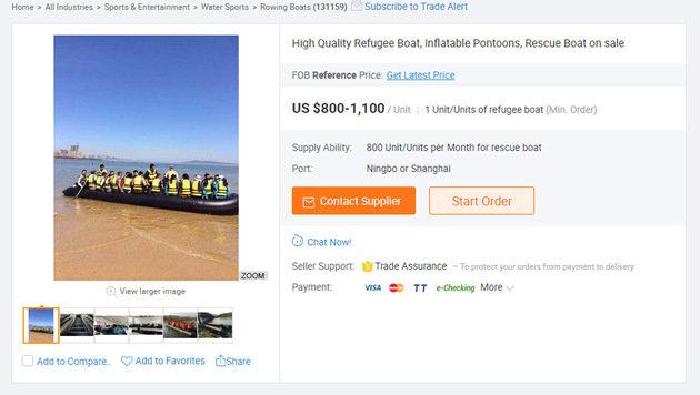 """Im chinesischen Online-Shop Alibaba werden """"Flüchtlingsboote"""" um 800 bis 1100 Dollar angeboten. (Bild: alibaba.com)"""