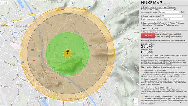 So verheerend wäre Kims Atombombe für Österreich (Bild: nuclearsecrecy.com/nukemap)