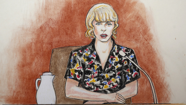 Taylor Swift vom Gerichtszeichner porträtiert (Bild: AP)