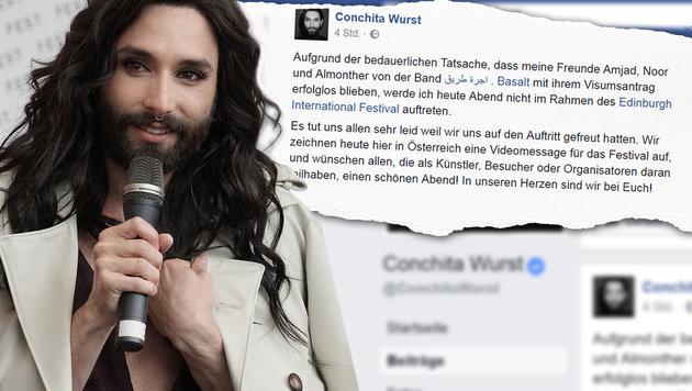 Conchita Wurst sagt Konzert aus Protest ab (Bild: APA/AFP/JOE KLAMAR, facebook.com, krone.at-Grafik)