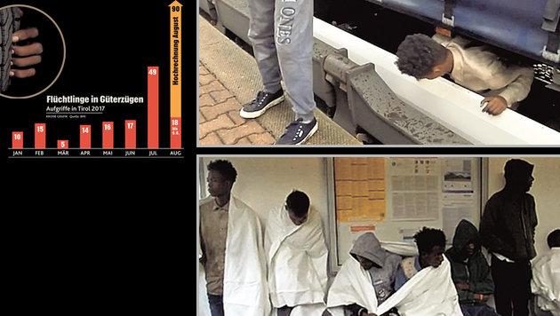 """Flüchtlingsstrom per Zug: 18 Aufgriffe in 6  Tagen (Bild: Screenshots/tvxs.gr, """"Krone""""- Grafik)"""