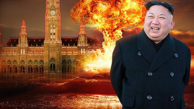 So verheerend wäre Kims Atombombe für Österreich (Bild: stock.adobe.com, AFP, krone.at-Grafik)