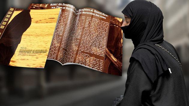 Taliban-Frauenmagazin gibt Tipps für den Dschihad (Bild: stock.adobe.com, APA/ROLAND SCHLAGER, krone.at-Grafik)