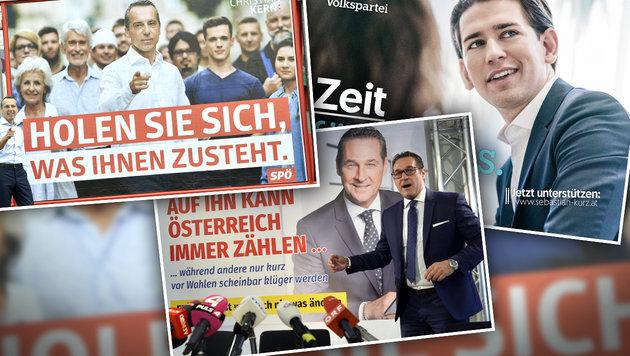 2 Monate vor Wahl: Kann Kern Kurz noch einholen? (Bild: APA/HERBERT PFARRHOFER, APA/HANS KLAUS TECHT, ÖVP)