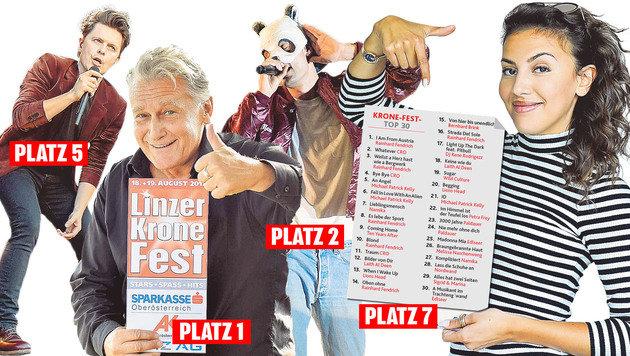 """Sie führen die """"Krone""""-Hitparade an: Fendrich, Cro, Michael Patrick Kelly und Namika. (Bild: Markus Wenzel)"""