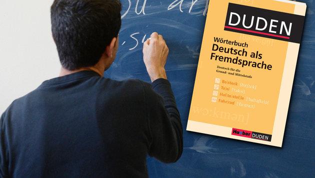 Jeder 3. Asylwerber fällt bei Deutschkurs durch (Bild: dpa/Marijan Murat, DUDEN)