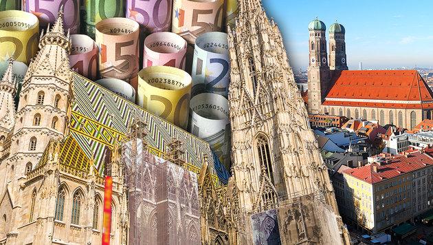 So sparsam ist München im Vergleich zu Wien (Bild: stock.adobe.com, krone.at-Grafik)