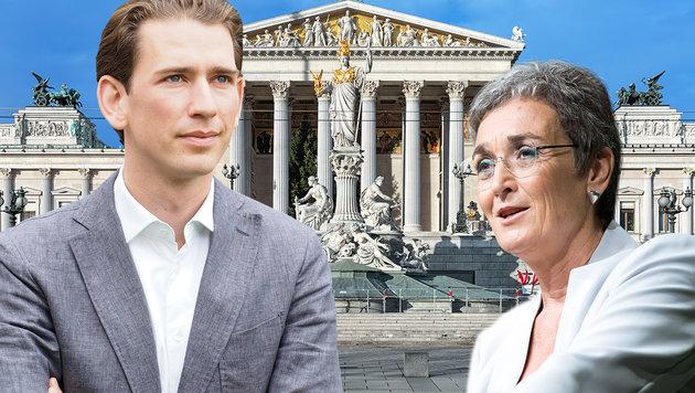 Wahlkampf-Umfrage: Kurz fällt am positivsten auf (Bild: APA/Moser, APA/FOTOKERSCHI.AT/KERSCHBAUMMAYR, stock.adobe.com)