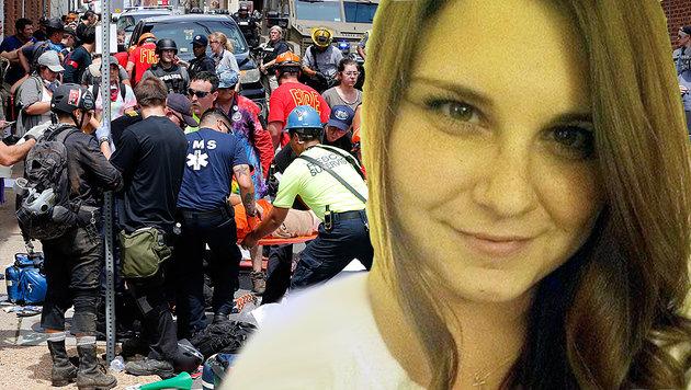 Heather Heyer kam bei der Wahnsinnstat ums Leben. (Bild: AP, twitter.com, krone.at-Grafik)
