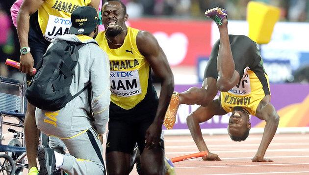 Sturz und Verletzung: Bolt-Abschied als Tragödie (Bild: AP, AFP)