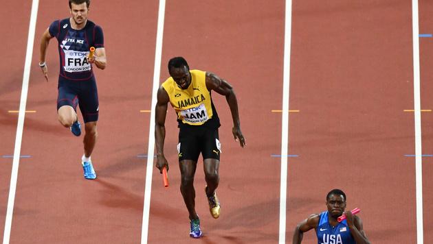 Drama in London! Bolt stürzt im letzten Rennen (Bild: AFP)