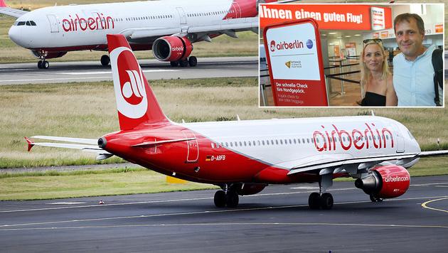 Ab in den Urlaub: Touristen (rechts oben) nehmen die Pleite der Fluglinie Air Berlin noch locker. (Bild: ASSOCIATED PRESS, Kronen Zeitung/Tomschi)