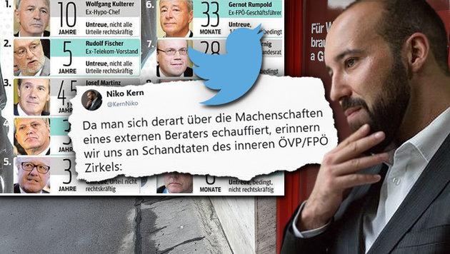 Silberstein: Kern-Sohn rückt zur Verteidigung aus (Bild: twitter.com, APA/HELMUT FOHRINGER, krone.at-Grafik)