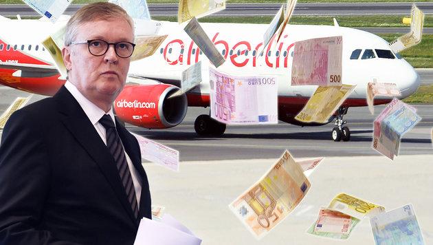 Weiter 950.000 Euro Gehalt für Air-Berlin-Chef (Bild: APA/AFP/PATRIK STOLLARZ, APA/HELMUT FOHRINGER, krone.at-Grafik)