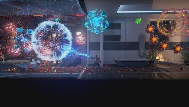 """""""Matterfall"""": Buntes Arcade-Spektakel am Prüfstand (Bild: Housemarque)"""