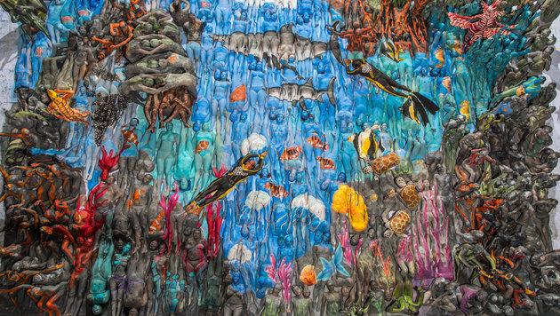 Bodypainting-Weltrekord für die Meere in Wien (Bild: Reefcalender.org)