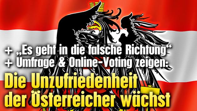 Die Unzufriedenheit der Österreicher wächst (Bild: stock.adobe.com, krone.at-Grafik)