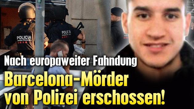 Barcelona-Mörder von Polizei erschossen! (Bild: AP, AFP, krone.at-Grafik)