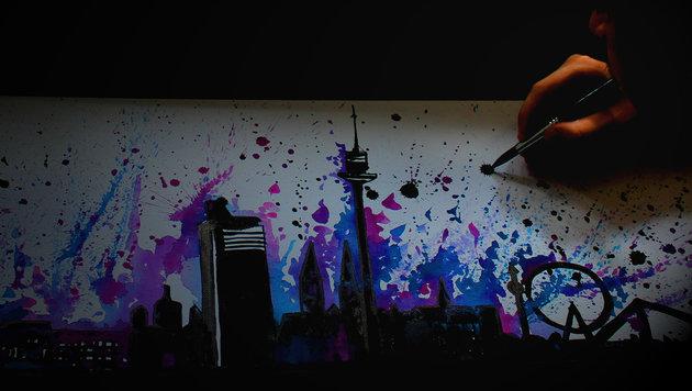 """""""Wunder-Maler zeichnet Wiener Skyline (Bild: Andreas Lohninger)"""""""
