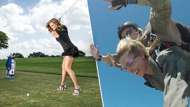 Sexy Golfstar fliegt durch die Lüfte (Bild: Red Bull Content Pool, krone.at-Grafik)