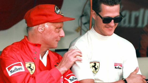 Niki Lauda und Michael Schumacher 1996 in Monaco (Bild: AFP)
