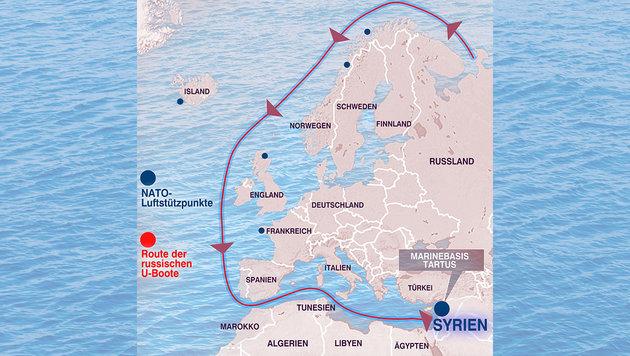 Putin schickt Tarnkappen-U-Boote ins Mittelmeer (Bild: Wikipedia, stock.adobe.com, krone.at-Grafik)