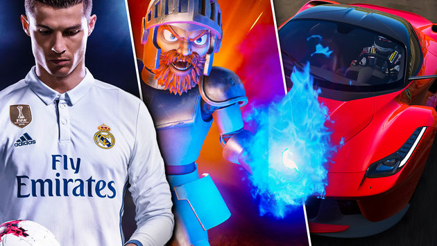 """Fifa 18"" & Co.: So heiß wird der Spiele-Herbst (Bild: EA, Capcom, Bandai Namco, krone.at-Grafik)"